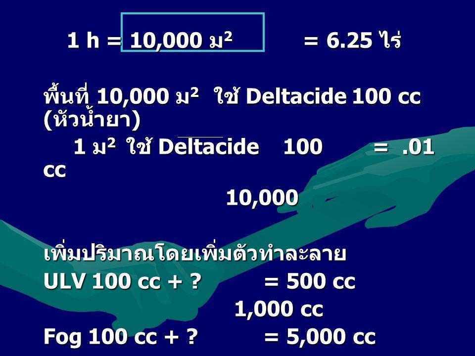 1 h = 10,000 ม2 = 6.25 ไร่ พื้นที่ 10,000 ม2 ใ ใ ใ ใช้ Deltacide 100 cc (หัวน้ำยา) 1 ม2 ใ ใ ใ ใช้ Deltacide 100 =.01 cc 10,000 เพิ่มปริมาณโดยเพิ่มตัวทำละลาย ULV 100 cc + ?= 500 cc 1,000 cc Fog 100 cc + ?= 5,000 cc 10,000 cc