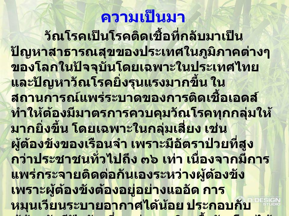 ความเป็นมา วัณโรคเป็นโรคติดเชื้อที่กลับมาเป็น ปัญหาสาธารณสุขของประเทศในภูมิภาคต่างๆ ของโลกในปัจจุบันโดยเฉพาะในประเทศไทย และปัญหาวัณโรคยิ่งรุนแรงมากขึ้