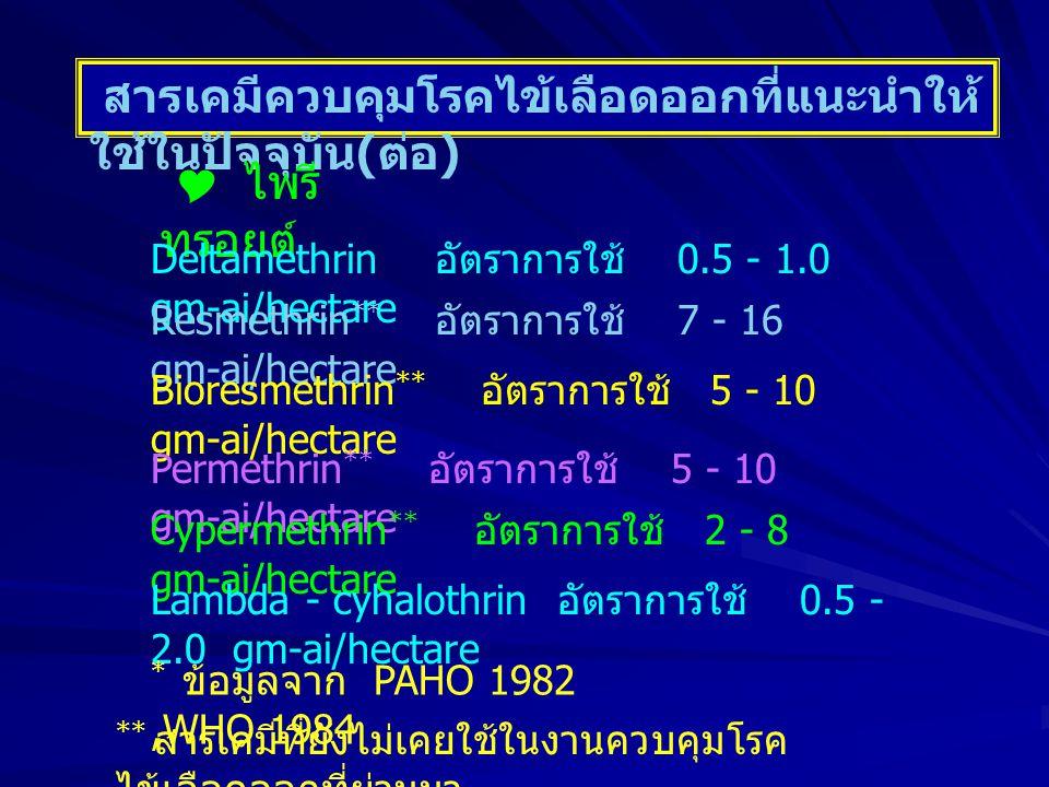 สารเคมีควบคุมโรคไข้เลือดออกที่แนะนำให้ ใช้ในปัจจุบัน ( ต่อ )  ไพรี ทรอยต์ Deltamethrin อัตราการใช้ 0.5 - 1.0 gm-ai/hectare Resmethrin ** อัตราการใช้