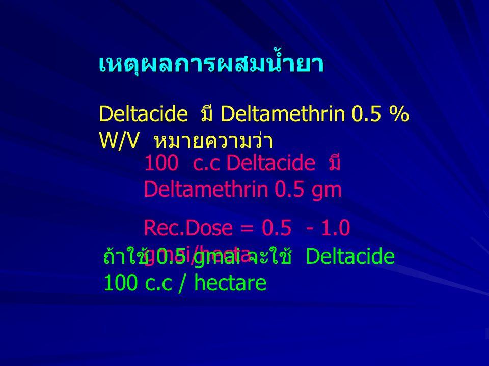 เหตุผลการผสมน้ำยา Deltacide มี Deltamethrin 0.5 % W/V หมายความว่า 100 c.c Deltacide มี Deltamethrin 0.5 gm Rec.Dose = 0.5 - 1.0 gmai/hecta ถ้าใช้ 0.5