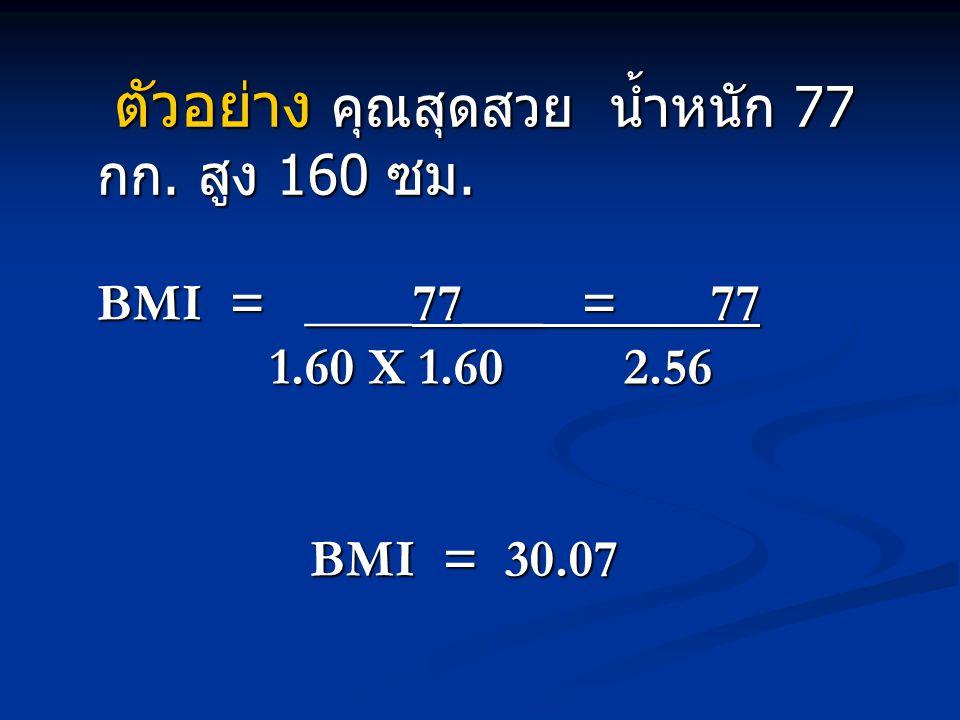ค่าดัชนีมวลกายประเมินภาวะ โภชนาการได้ดังนี้ ค่าดัชนีมวลกายภาวะ โภชนาการ > 30.0 โรคอ้วนระดับ ที่ 2 > 30.0 โรคอ้วนระดับ ที่ 2 25.0 – 29.9 โรคอ้วน ระดับที่ 1 25.0 – 29.9 โรคอ้วน ระดับที่ 1 23.0 – 24.9 น้ำหนัก เกิน 23.0 – 24.9 น้ำหนัก เกิน 18.5 – 22.9 ปกติ 18.5 – 22.9 ปกติ < 18.5 น้ำหนักน้อย < 18.5 น้ำหนักน้อย