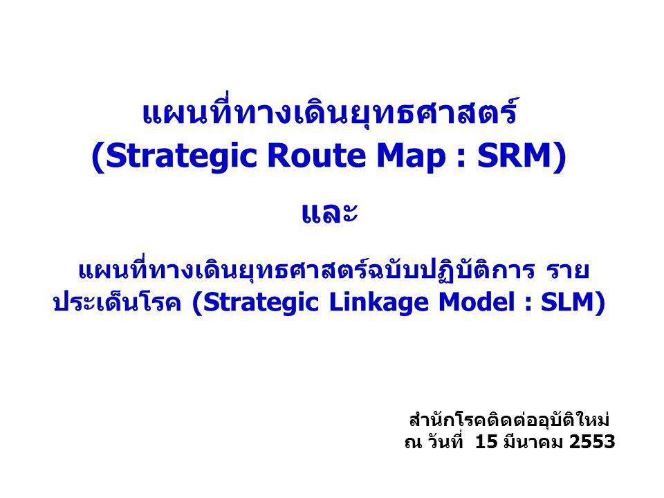 แผนที่ทางเดินยุทธศาสตร์ (Strategic Route Map : SRM) และ แผนที่ทางเดินยุทธศาสตร์ฉบับปฏิบัติการ ราย ประเด็นโรค (Strategic Linkage Model : SLM) สำนักโรคต