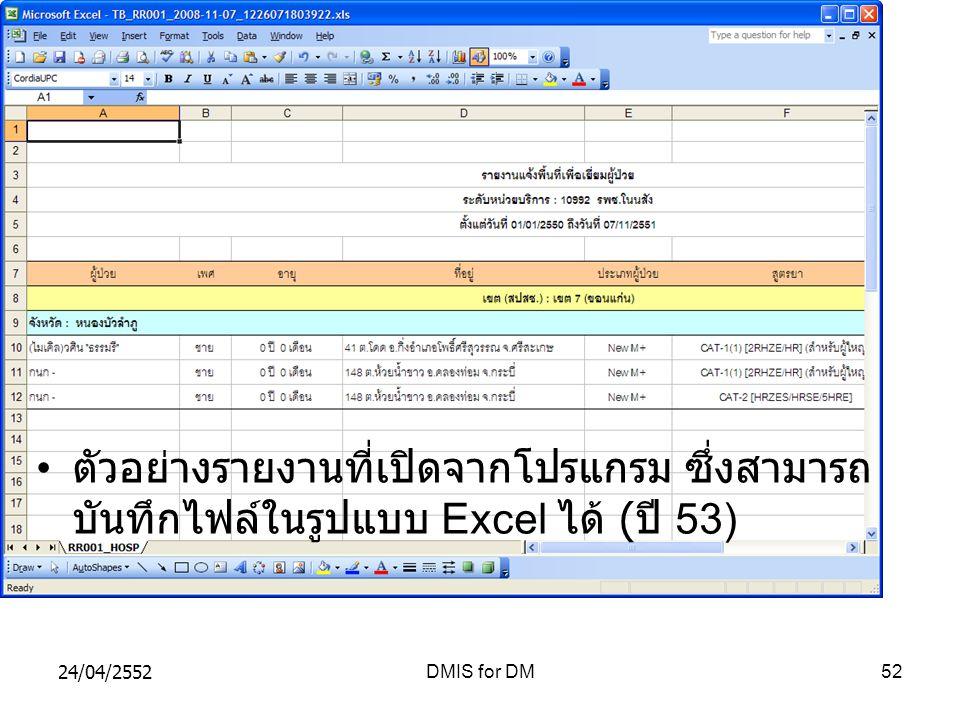 24/04/2552DMIS for DM52 ตัวอย่างรายงานที่เปิดจากโปรแกรม ซึ่งสามารถ บันทึกไฟล์ในรูปแบบ Excel ได้ ( ปี 53)