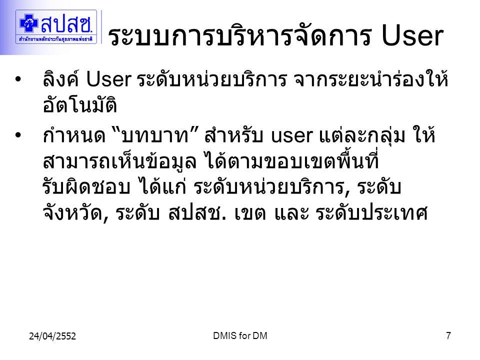 24/04/2552DMIS for DM7 ระบบการบริหารจัดการ User ลิงค์ User ระดับหน่วยบริการ จากระยะนำร่องให้ อัตโนมัติ กำหนด บทบาท สำหรับ user แต่ละกลุ่ม ให้ สามารถเห็นข้อมูล ได้ตามขอบเขตพื้นที่ รับผิดชอบ ได้แก่ ระดับหน่วยบริการ, ระดับ จังหวัด, ระดับ สปสช.