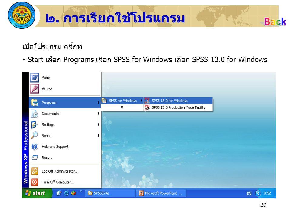 20 ๒. การเรียกใช้โปรแกรม เปิดโปรแกรม คลิ๊กที่ -Start เลือก Programs เลือก SPSS for Windows เลือก SPSS 13.0 for Windows