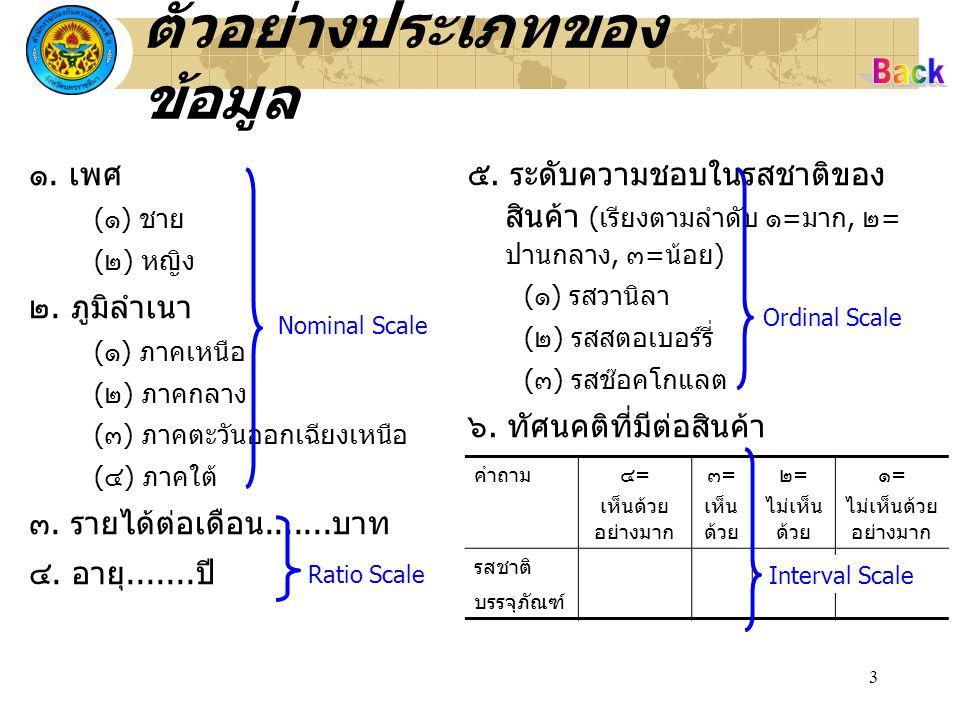 3 ตัวอย่างประเภทของ ข้อมูล ๑. เพศ (๑) ชาย (๒) หญิง ๒. ภูมิลำเนา (๑) ภาคเหนือ (๒) ภาคกลาง (๓) ภาคตะวันออกเฉียงเหนือ (๔) ภาคใต้ ๓. รายได้ต่อเดือน.......