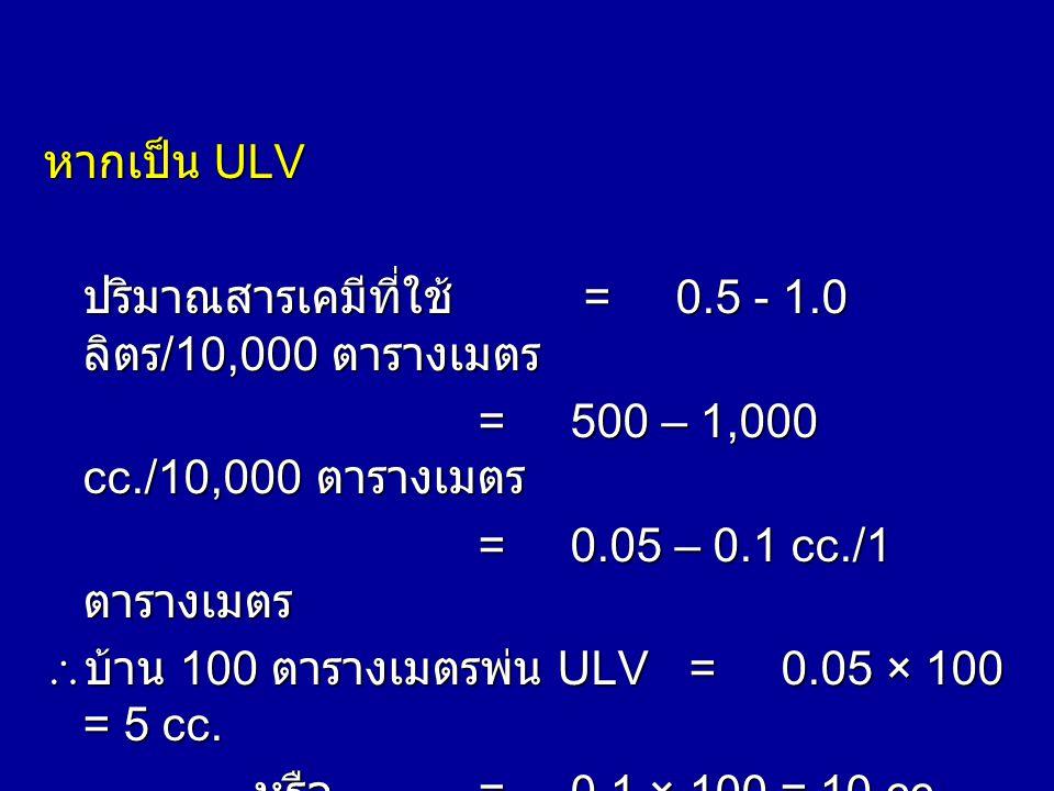 พ่นในบ้าน บ้านพื้นที่=100ตารางเมตร ปริมาณสารเคมีที่ใช้ =10 ลิตร/10,000 ตารางเมตร =10 × 1,000 cc./10,000 ตารางเมตร =1 cc. / 1 ตารางเมตร  บ้าน 100 ตารา