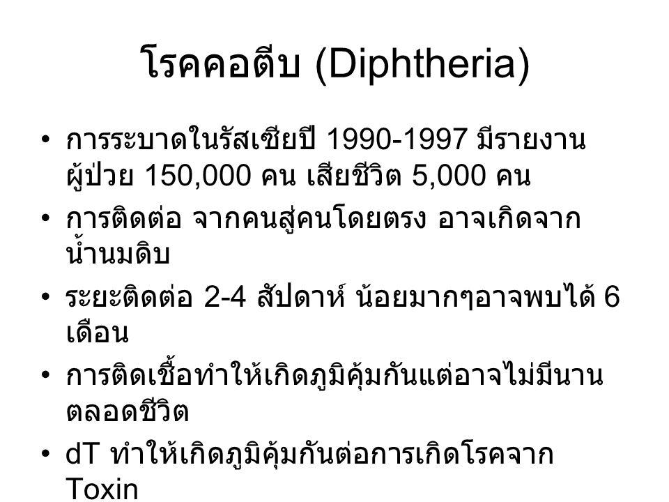 โรคคอตีบ (Diphtheria) การระบาดในรัสเซียปี 1990-1997 มีรายงาน ผู้ป่วย 150,000 คน เสียชีวิต 5,000 คน การติดต่อ จากคนสู่คนโดยตรง อาจเกิดจาก น้ำนมดิบ ระยะติดต่อ 2-4 สัปดาห์ น้อยมากๆอาจพบได้ 6 เดือน การติดเชื้อทำให้เกิดภูมิคุ้มกันแต่อาจไม่มีนาน ตลอดชีวิต dT ทำให้เกิดภูมิคุ้มกันต่อการเกิดโรคจาก Toxin