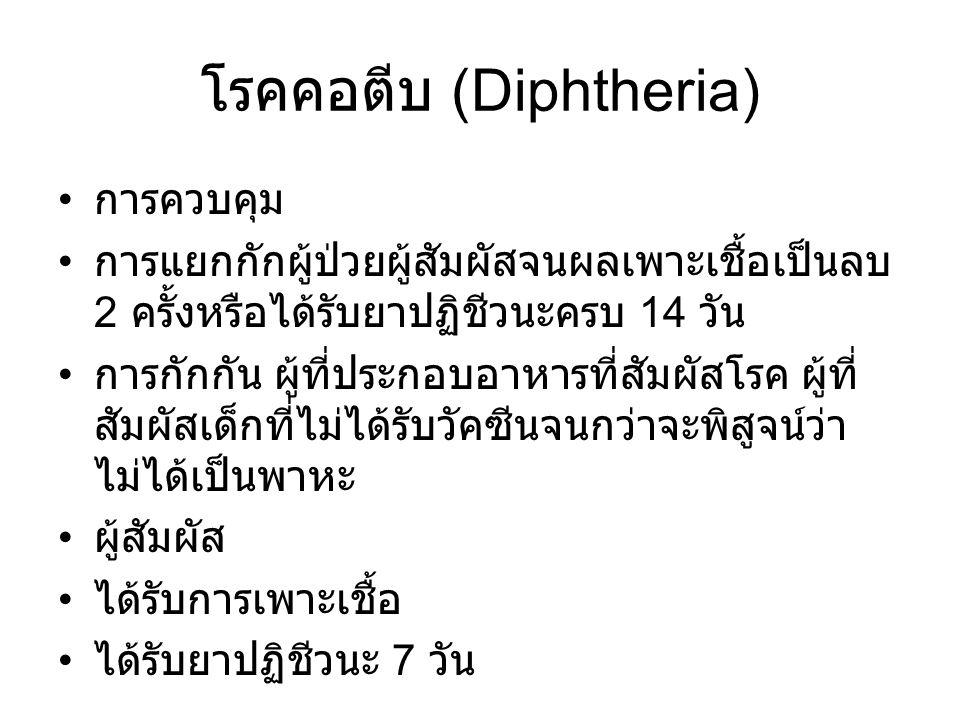 โรคคอตีบ (Diphtheria) การควบคุม การแยกกักผู้ป่วยผู้สัมผัสจนผลเพาะเชื้อเป็นลบ 2 ครั้งหรือได้รับยาปฏิชีวนะครบ 14 วัน การกักกัน ผู้ที่ประกอบอาหารที่สัมผัสโรค ผู้ที่ สัมผัสเด็กที่ไม่ได้รับวัคซีนจนกว่าจะพิสูจน์ว่า ไม่ได้เป็นพาหะ ผู้สัมผัส ได้รับการเพาะเชื้อ ได้รับยาปฏิชีวนะ 7 วัน