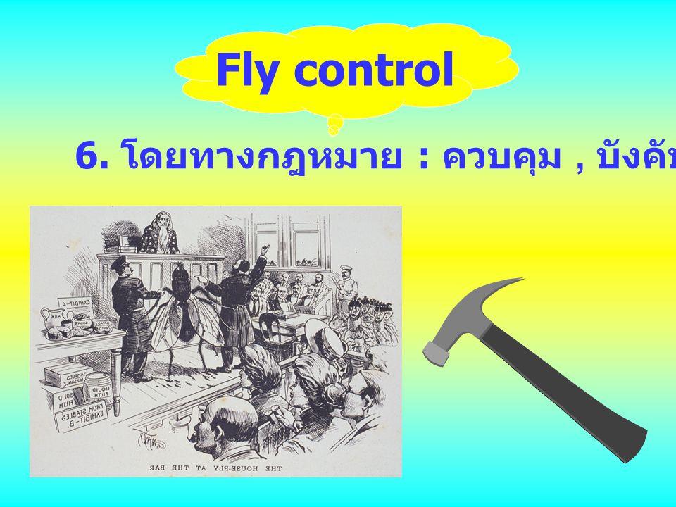6. โดยทางกฎหมาย : ควบคุม, บังคับ Fly control