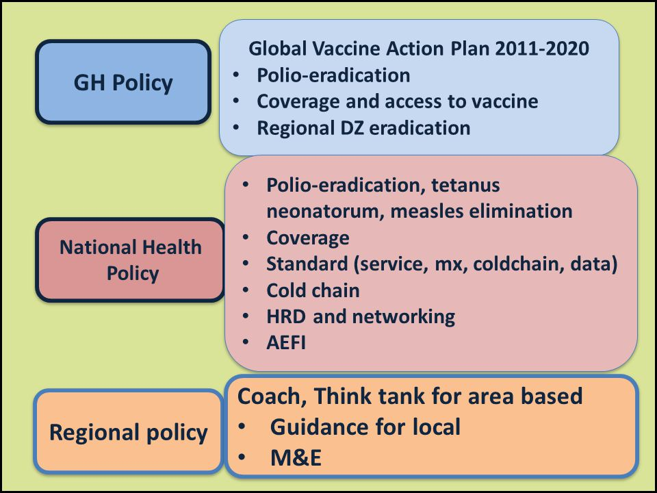 GH Policy National Health Policy National Health Policy Regional policy Global Vaccine Action Plan 2011-2020 Polio-eradication Coverage and access to vaccine Regional DZ eradication Global Vaccine Action Plan 2011-2020 Polio-eradication Coverage and access to vaccine Regional DZ eradication Polio-eradication, tetanus neonatorum, measles elimination Coverage Standard (service, mx, coldchain, data) Cold chain HRD and networking AEFI Polio-eradication, tetanus neonatorum, measles elimination Coverage Standard (service, mx, coldchain, data) Cold chain HRD and networking AEFI Coach, Think tank for area based Guidance for local M&E Coach, Think tank for area based Guidance for local M&E