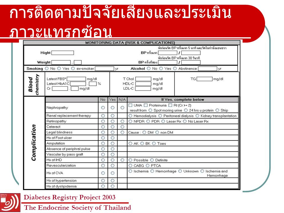 Diabetes Registry Project 2003 The Endocrine Society of Thailand สถานภาพทางเศรษฐกิจและสังคม