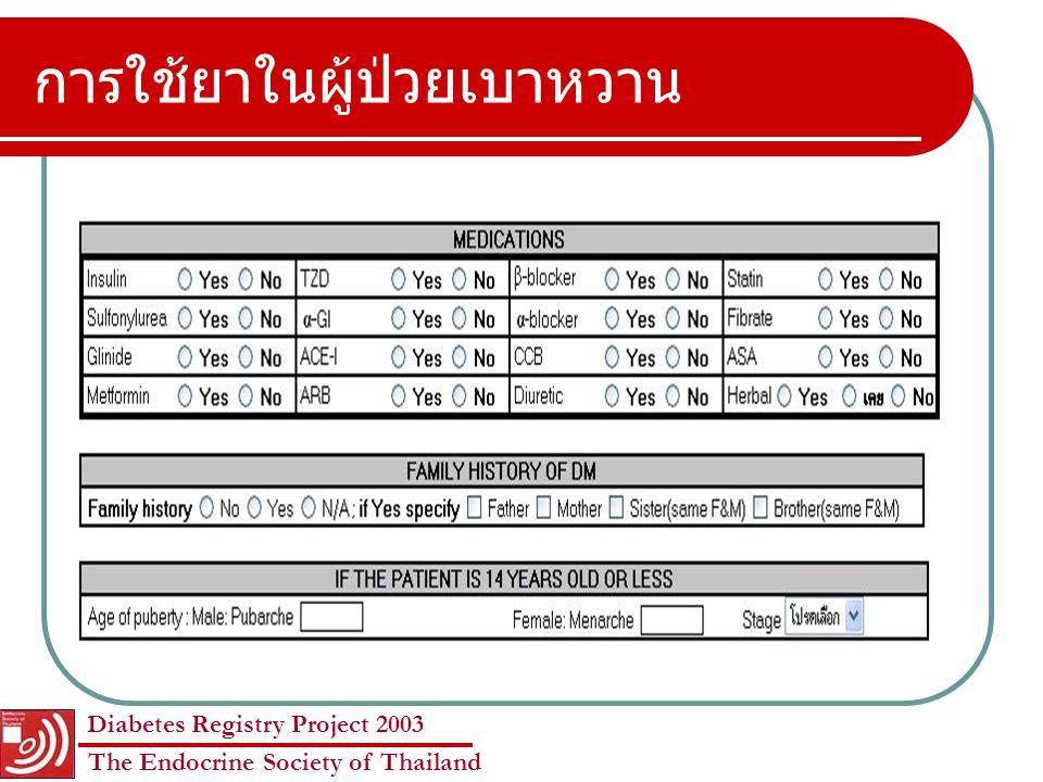 Diabetes Registry Project 2003 The Endocrine Society of Thailand การติดตามปัจจัยเสี่ยงและประเมิน ภาวะแทรกซ้อน