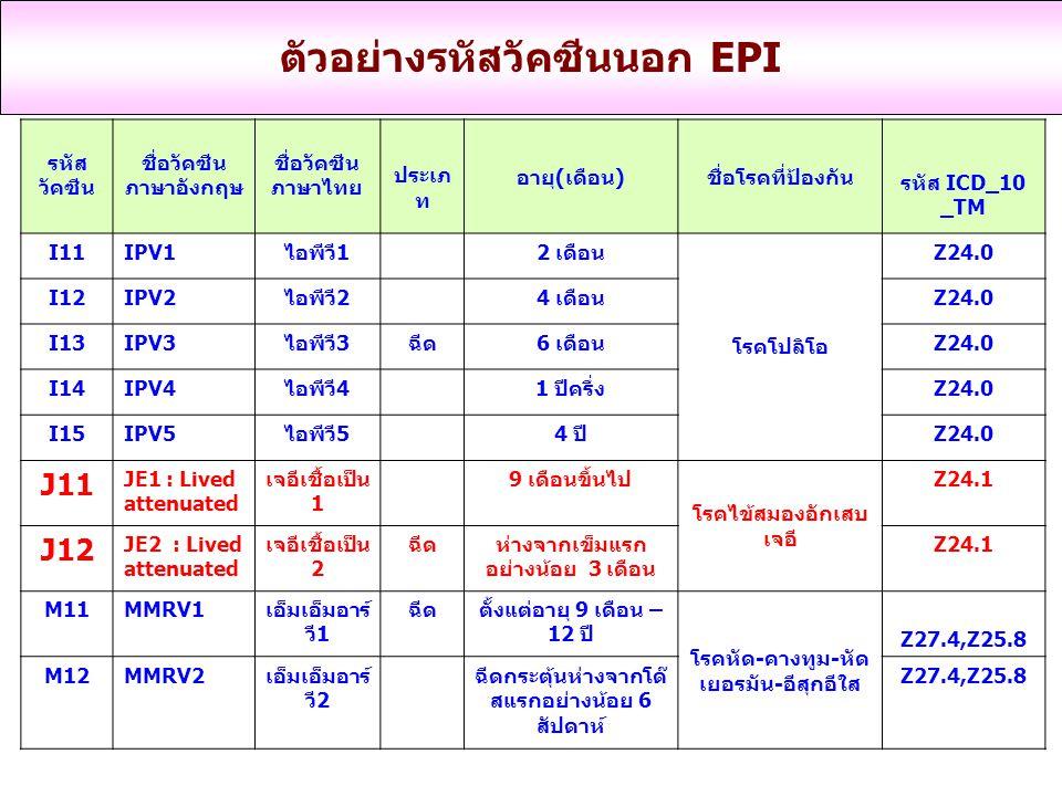 รหัส วัคซีน ชื่อวัคซีน ภาษาอังกฤษ ชื่อวัคซีน ภาษาไทย ประเภ ท อายุ(เดือน) ชื่อโรคที่ป้องกัน รหัส ICD_10 _TM I11IPV1ไอพีวี1 2 เดือน โรคโปลิโอ Z24.0 I12IPV2ไอพีวี2 4 เดือนZ24.0 I13IPV3ไอพีวี3ฉีด6 เดือนZ24.0 I14IPV4ไอพีวี4 1 ปีครึ่งZ24.0 I15IPV5ไอพีวี5 4 ปีZ24.0 J11 JE1 : Lived attenuated เจอีเชื้อเป็น 1 9 เดือนขึ้นไป โรคไข้สมองอักเสบ เจอี Z24.1 J12 JE2 : Lived attenuated เจอีเชื้อเป็น 2 ฉีดห่างจากเข็มแรก อย่างน้อย 3 เดือน Z24.1 M11MMRV1เอ็มเอ็มอาร์ วี1 ฉีดตั้งแต่อายุ 9 เดือน – 12 ปี โรคหัด-คางทูม-หัด เยอรมัน-อีสุกอีใส Z27.4,Z25.8 M12MMRV2เอ็มเอ็มอาร์ วี2 ฉีดกระตุ้นห่างจากโด๊ สแรกอย่างน้อย 6 สัปดาห์ Z27.4,Z25.8 ตัวอย่างรหัสวัคซีนนอก EPI