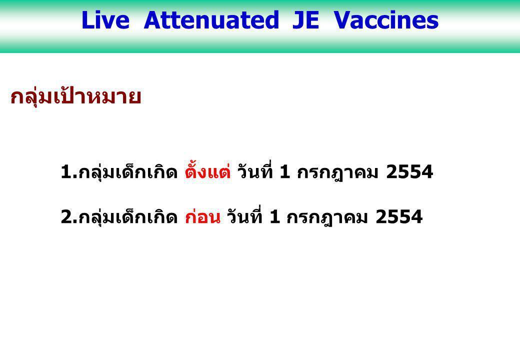 กลุ่มเป้าหมาย 1.กลุ่มเด็กเกิด ตั้งแต่ วันที่ 1 กรกฎาคม 2554 ครั้งที่การให้วัคซีนอายุ ครั้งที่ 1เด็กอายุ 1 ปี 6 เดือน ครั้งที่ 2เด็กอายุ 2 ปี 6 เดือน หมายเหตุ : หากไม่สามารถเริ่มให้วัคซีนตามกำหนดได้ ให้เริ่มทันทีที่พบครั้งแรก หากเด็กเคยได้รับวัคซีนครั้งแรก และไม่มารับครั้งที่ 2 ตามกำหนดนัด ให้วัคซีนครั้งที่ 2 ต่อไปได้ทันทีเมื่อพบเด็ก โดยไม่ต้องเริ่มต้นครั้งที่ 1 ใหม่ Live Attenuated JE Vaccines