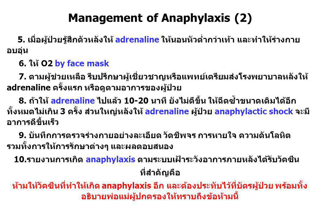 Management of Anaphylaxis (2) 5.