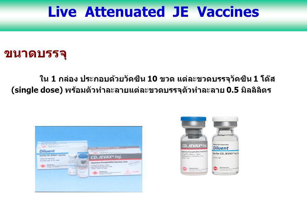 ขนาดบรรจุ ใน 1 กล่อง ประกอบด้วยวัคซีน 10 ขวด แต่ละขวดบรรจุวัคซีน 1 โด๊ส (single dose) พร้อมตัวทำละลายแต่ละขวดบรรจุตัวทำละลาย 0.5 มิลลิลิตร Live Attenu