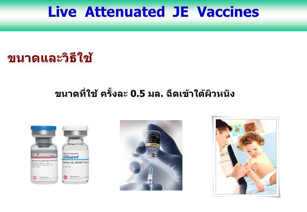ขนาดและวิธีใช้ ขนาดที่ใช้ ครั้งละ 0.5 มล. ฉีดเข้าใต้ผิวหนัง Live Attenuated JE Vaccines