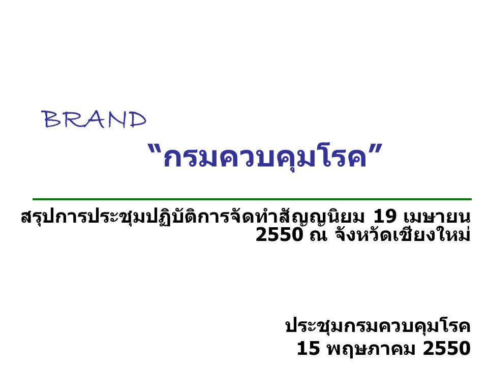 BRAND กรมควบคุมโรค สรุปการประชุมปฏิบัติการจัดทำสัญญนิยม 19 เมษายน 2550 ณ จังหวัดเชียงใหม่ ประชุมกรมควบคุมโรค 15 พฤษภาคม 2550
