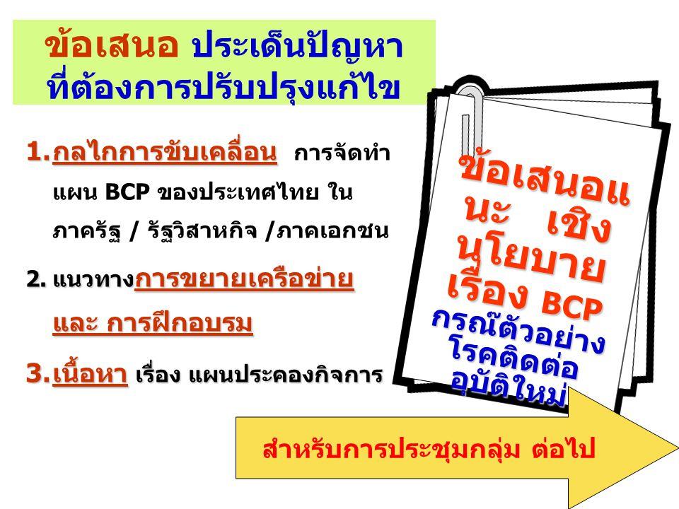 ข้อเสนอ ประเด็นปัญหา ที่ต้องการปรับปรุงแก้ไข 1.กลไกการขับเคลื่อน 1.กลไกการขับเคลื่อน การจัดทำ แผน BCP ของประเทศไทย ใน ภาครัฐ / รัฐวิสาหกิจ /ภาคเอกชน 2.แนวทาง การขยายเครือข่าย และ การฝึกอบรม 3.เนื้อหา เรื่อง แผนประคองกิจการ ข้อเสนอแ นะ เชิง นโยบาย เรื่อง BCP กรณ๊ตัวอย่าง โรคติดต่อ อุบัติใหม่ สำหรับการประชุมกลุ่ม ต่อไป