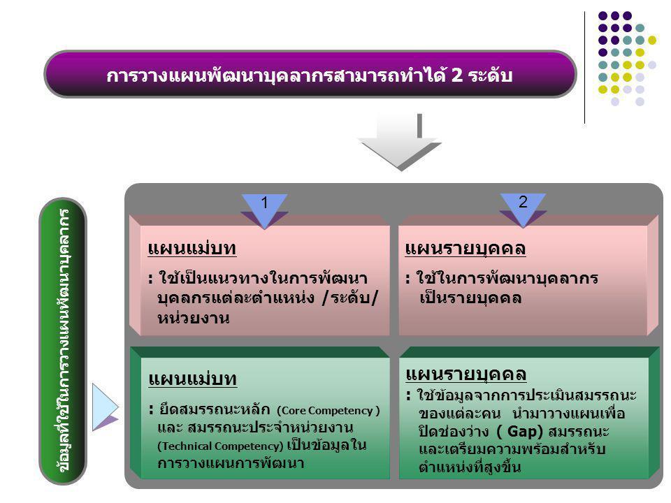 การวางแผนพัฒนาบุคลากรสามารถทำได้ 2 ระดับ แผนรายบุคคล : ใช้ในการพัฒนาบุคลากร เป็นรายบุคคล แผนแม่บท : ใช้เป็นแนวทางในการพัฒนา บุคลกรแต่ละตำแหน่ง /ระดับ/ หน่วยงาน 1 2 แผนแม่บท : ยึดสมรรถนะหลัก (Core Competency ) และ สมรรถนะประจำหน่วยงาน (Technical Competency) เป็นข้อมูลใน การวางแผนการพัฒนา แผนรายบุคคล : ใช้ข้อมูลจากการประเมินสมรรถนะ ของแต่ละคน นำมาวางแผนเพื่อ ปิดช่องว่าง ( Gap) สมรรถนะ และเตรียมความพร้อมสำหรับ ตำแหน่งที่สูงขึ้น ข้อมูลที่ใช้ในการวางแผนพัฒนาบุคลากร