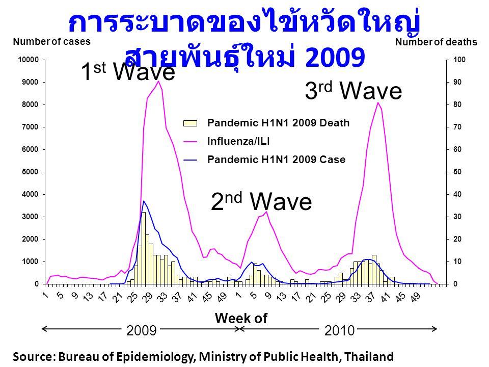 Week of Source: Bureau of Epidemiology, Ministry of Public Health, Thailand 2009 2010 2 nd Wave 1 st Wave 3 rd Wave การระบาดของไข้หวัดใหญ่ สายพันธุ์ให
