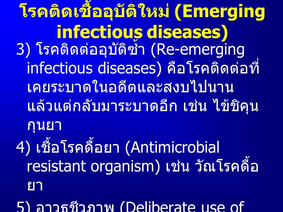 3) โรคติดต่ออุบัติซ้ำ (Re-emerging infectious diseases) คือโรคติดต่อที่ เคยระบาดในอดีตและสงบไปนาน แล้วแต่กลับมาระบาดอีก เช่น ไข้ชิคุน กุนยา 4) เชื้อโร