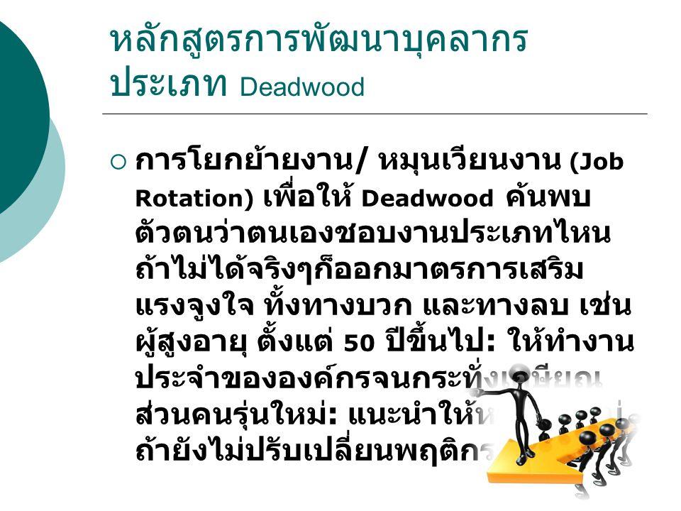 หลักสูตรการพัฒนาบุคลากร ประเภท Deadwood  การโยกย้ายงาน / หมุนเวียนงาน (Job Rotation) เพื่อให้ Deadwood ค้นพบ ตัวตนว่าตนเองชอบงานประเภทไหน ถ้าไม่ได้จร