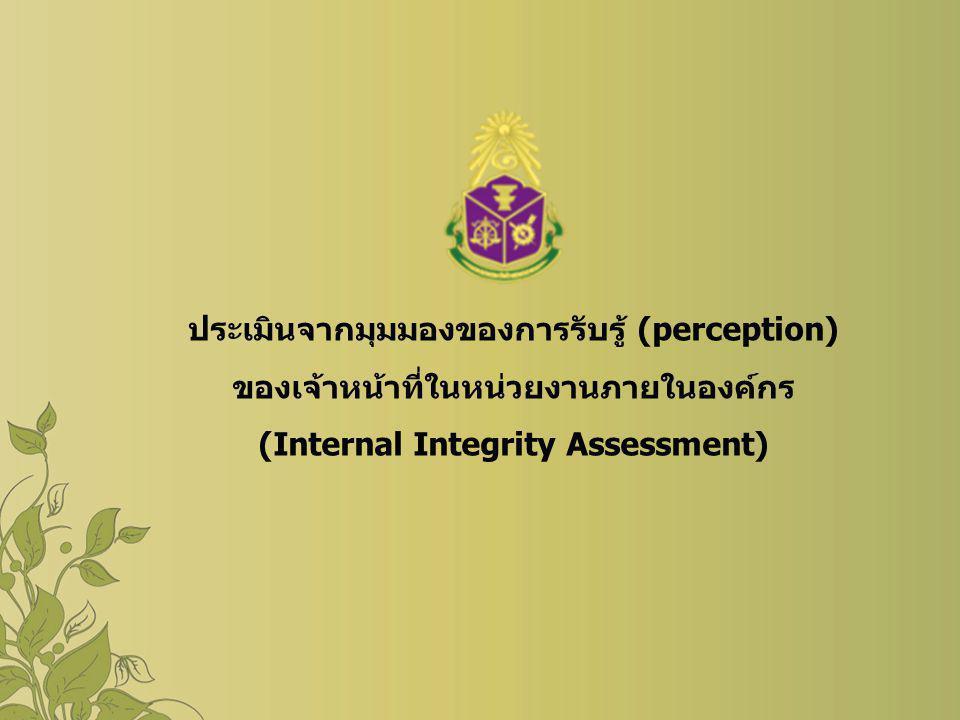 ประเมินจากมุมมองของการรับรู้ (perception) ของเจ้าหน้าที่ในหน่วยงานภายในองค์กร (Internal Integrity Assessment)