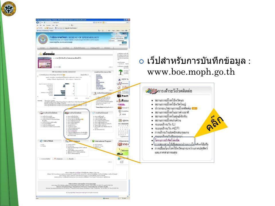 เว็ปสำหรับการบันทึกข้อมูล : www.boe.moph.go.th คลิ๊ก