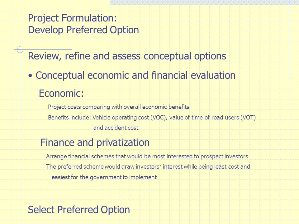 Feasibility Study of Preferred Option Refinement of project components Analysis of financial and economic feasibility Implementation plan Environmental Impact Assessment Financial Strategies, Preparation of privatization and procurement