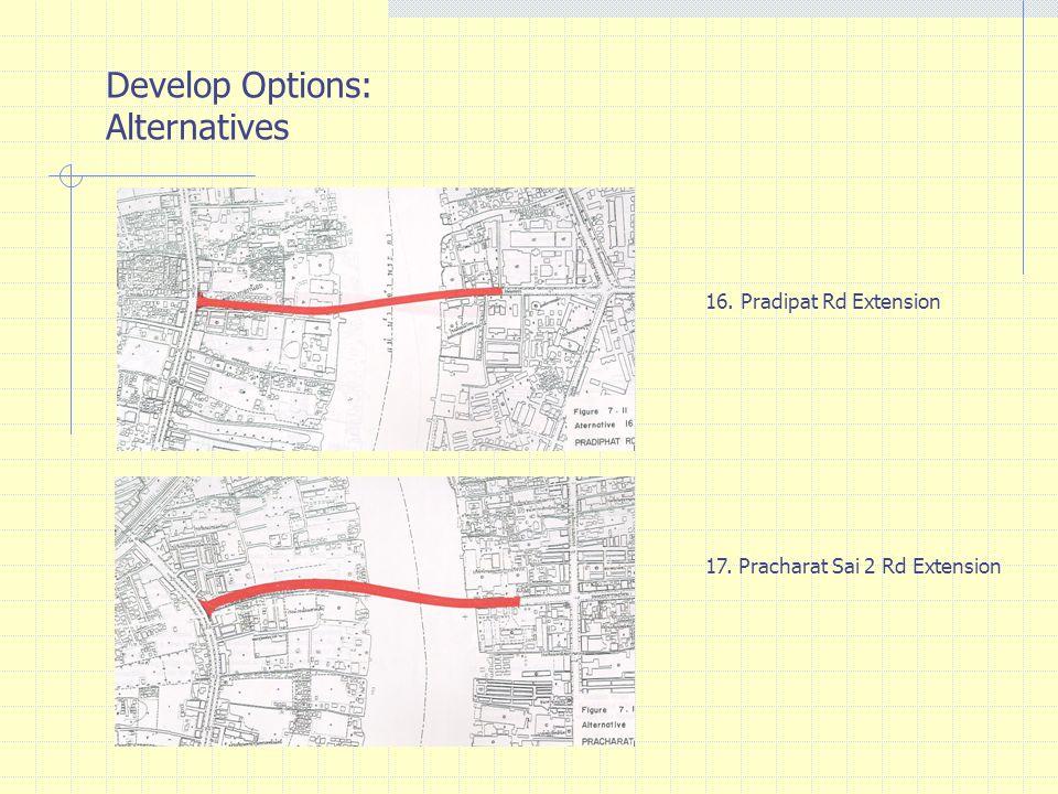 Develop Options: Alternatives 16. Pradipat Rd Extension 17. Pracharat Sai 2 Rd Extension