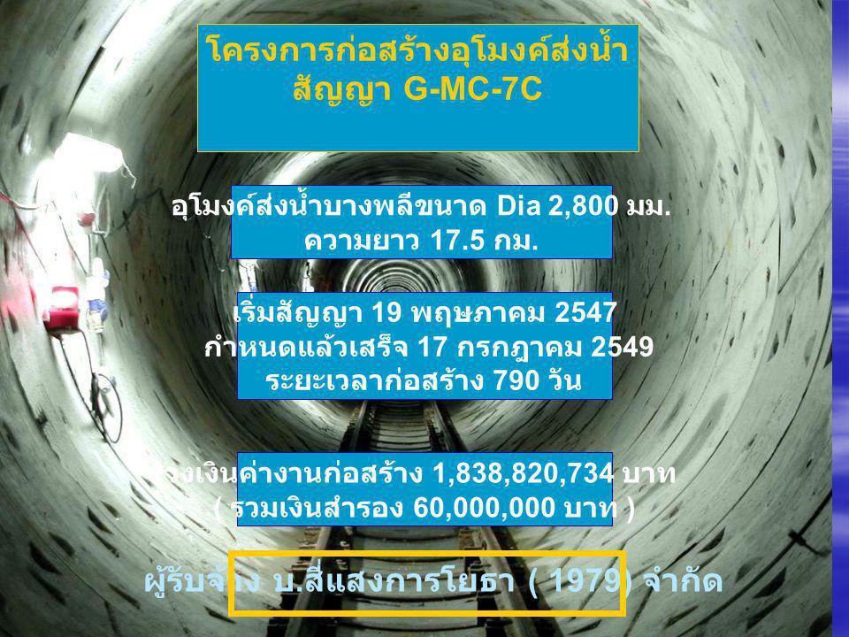 โครงการก่อสร้างอุโมงค์ส่งน้ำ สัญญา G-MC-7C อุโมงค์ส่งน้ำบางพลีขนาด Dia 2,800 มม. ความยาว 17.5 กม. เริ่มสัญญา 19 พฤษภาคม 2547 กำหนดแล้วเสร็จ 17 กรกฎาคม