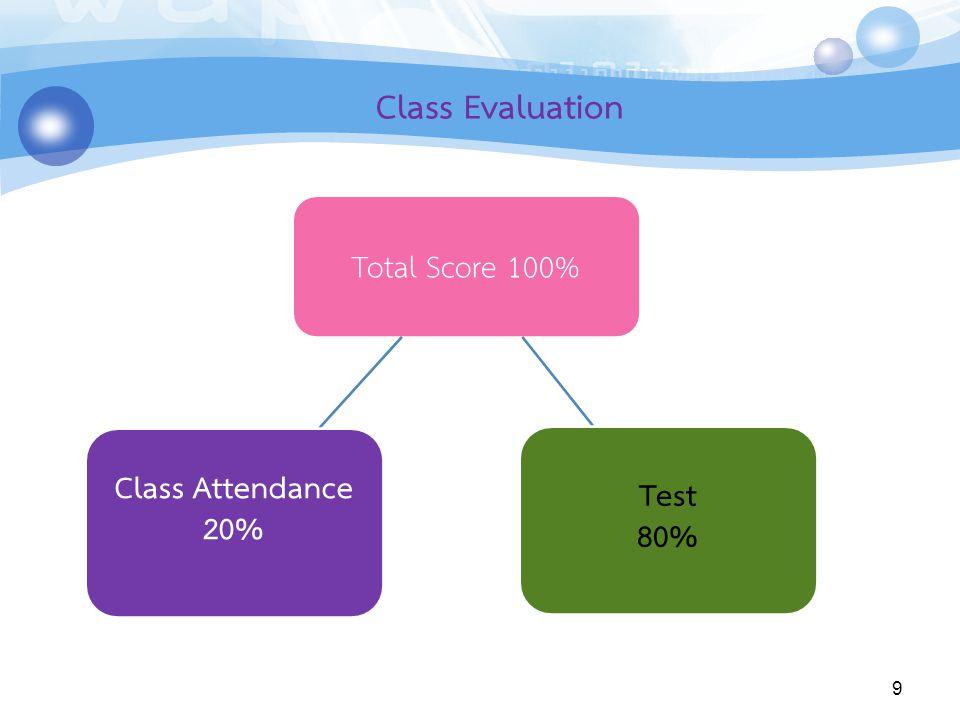 9 Class Evaluation Total Score 100% Test 80% Class Attendance 20%