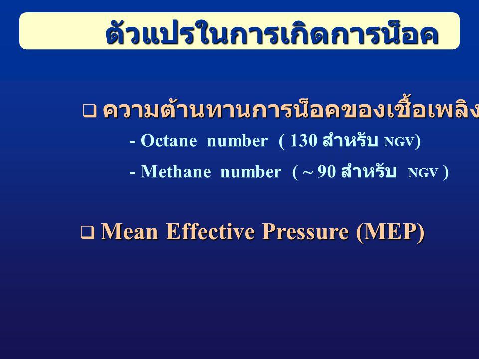 ตัวแปรในการเกิดการน็อค ความต้านทานการน็อคของเชื้อเพลิง  ความต้านทานการน็อคของเชื้อเพลิง - Octane number ( 130 สำหรับ NGV ) - Methane number ( ~ 90 สำหรับ NGV ) Mean Effective Pressure (MEP)  Mean Effective Pressure (MEP)