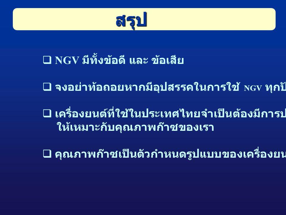  NGV มีทั้งข้อดี และ ข้อเสีย  จงอย่าท้อถอยหากมีอุปสรรคในการใช้ NGV ทุกปัญหาแก้ไขได้  เครื่องยนต์ที่ใช้ในประเทศไทยจำเป็นต้องมีการปรับเปลี่ยน ให้เหมาะกับคุณภาพก๊าซของเรา  คุณภาพก๊าซเป็นตัวกำหนดรูปแบบของเครื่องยนต์ สรุป