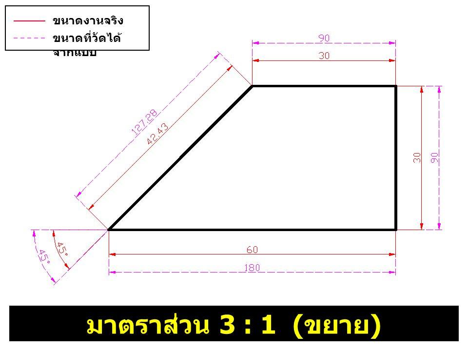 มาตราส่วน 3 : 1 ( ขยาย ) ขนาดงานจริง ( บอกขนาด ) ขนาดที่วัดได้ จากแบบ