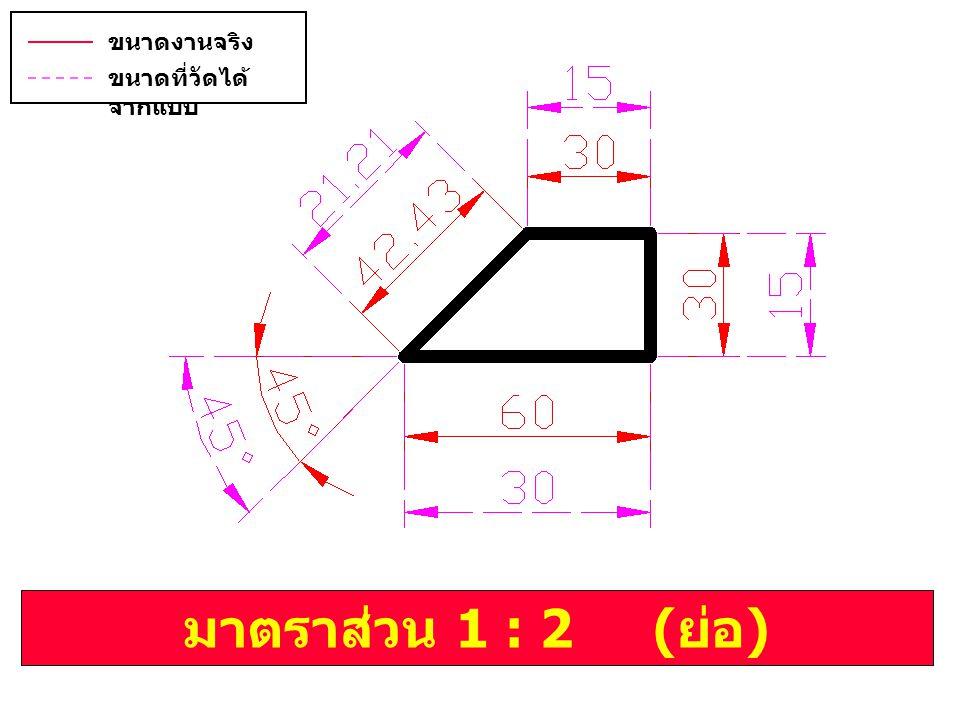 มาตราส่วน 1 : 2 ( ย่อ ) ขนาดงานจริง ( บอกขนาด ) ขนาดที่วัดได้ จากแบบ