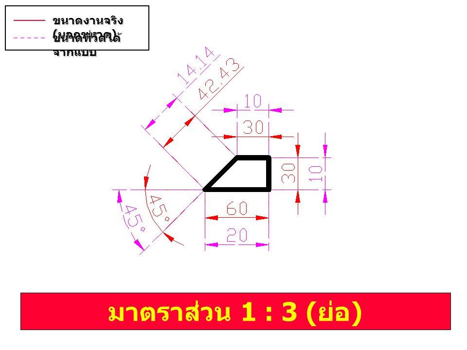 มาตราส่วน 1 : 3 ( ย่อ ) ขนาดงานจริง ( บอกขนาด ) ขนาดที่วัดได้ จากแบบ