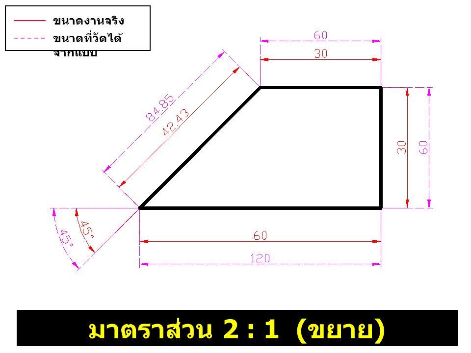 มาตราส่วน 2 : 1 ( ขยาย ) ขนาดงานจริง ( บอกขนาด ) ขนาดที่วัดได้ จากแบบ