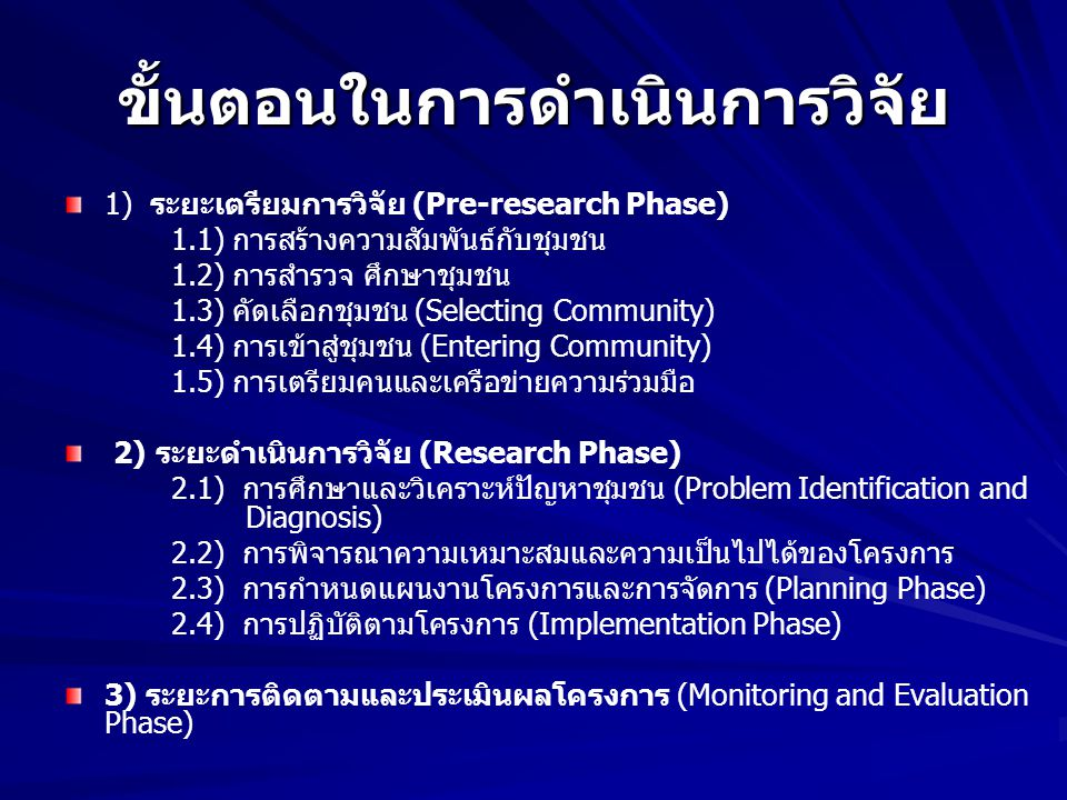 ขั้นตอนในการดำเนินการวิจัย 1) ระยะเตรียมการวิจัย (Pre-research Phase) 1.1) การสร้างความสัมพันธ์กับชุมชน 1.2) การสำรวจ ศึกษาชุมชน 1.3) คัดเลือกชุมชน (S