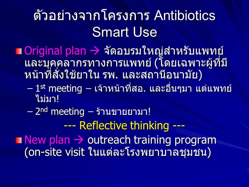 ตัวอย่างจากโครงการ Antibiotics Smart Use Original plan  จัดอบรมใหญ่สำหรับแพทย์ และบุคคลากรทางการแพทย์ (โดยเฉพาะผู้ที่มี หน้าที่สั่งใช้ยาใน รพ. และสถา