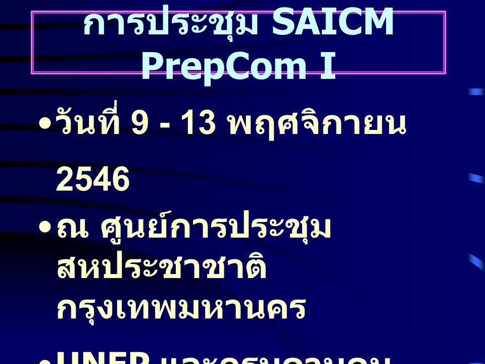 การประชุม SAICM PrepCom I วันที่ 9 - 13 พฤศจิกายน 2546 ณ ศูนย์การประชุม สหประชาชาติ กรุงเทพมหานคร UNEP และกรมควบคุม มลพิษ ( เจ้าภาพร่วม )