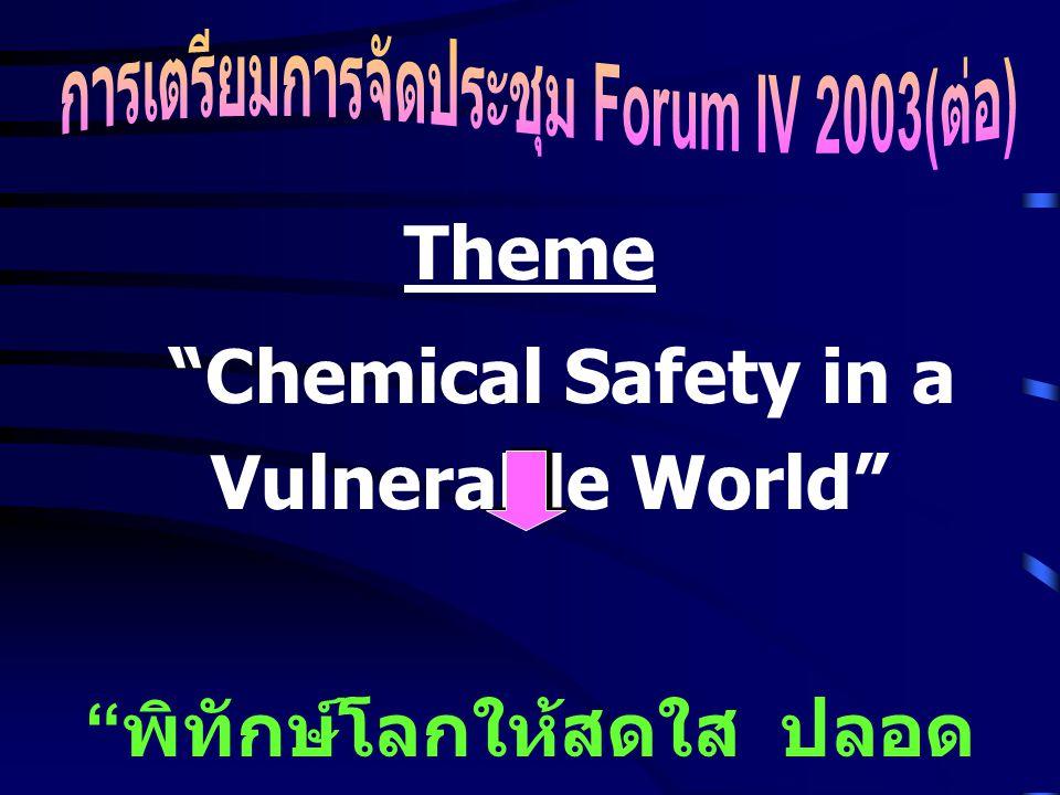Theme Chemical Safety in a Vulnerable World พิทักษ์โลกให้สดใส ปลอด พิษภัยสารเคมี
