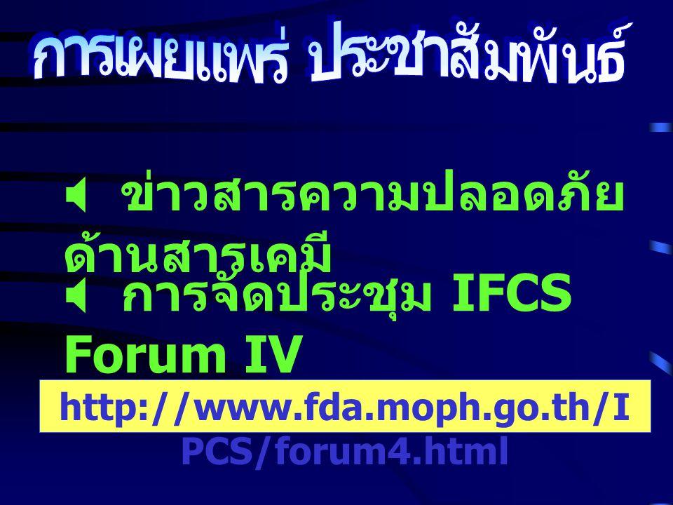  ข่าวสารความปลอดภัย ด้านสารเคมี http://www.fda.moph.go.th/I PCS/forum4.html  การจัดประชุม IFCS Forum IV