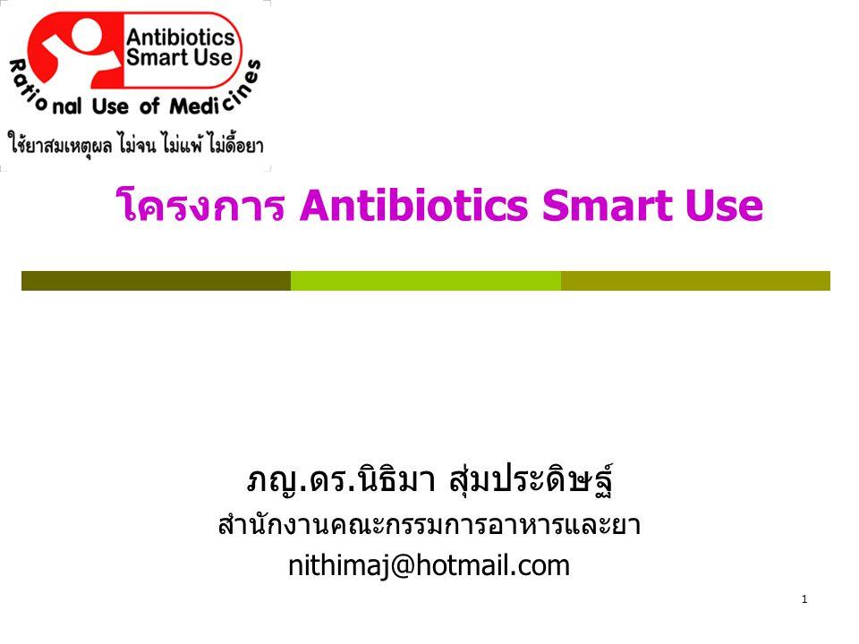 1 โครงการ Antibiotics Smart Use ภญ. ดร. นิธิมา สุ่มประดิษฐ์ สำนักงานคณะกรรมการอาหารและยา nithimaj@hotmail.com