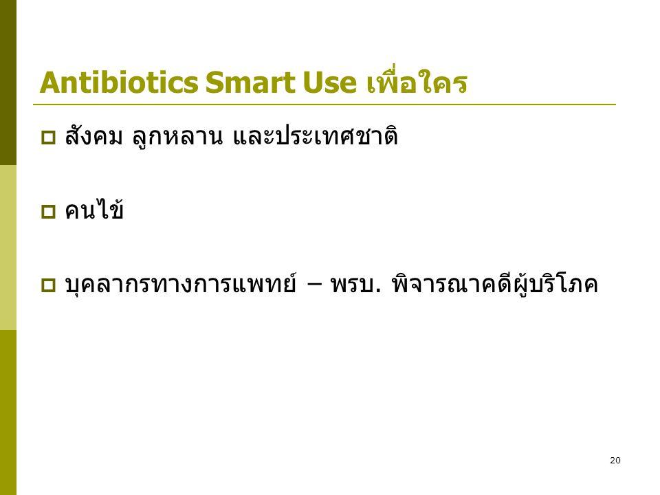 20 Antibiotics Smart Use เพื่อใคร  สังคม ลูกหลาน และประเทศชาติ  คนไข้  บุคลากรทางการแพทย์ – พรบ. พิจารณาคดีผู้บริโภค
