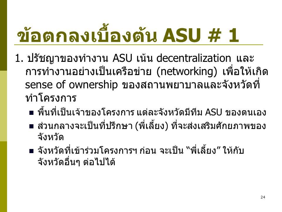 24 ข้อตกลงเบื้องต้น ASU # 1 1. ปรัชญาของทำงาน ASU เน้น decentralization และ การทำงานอย่างเป็นเครือข่าย (networking) เพื่อให้เกิด sense of ownership ขอ