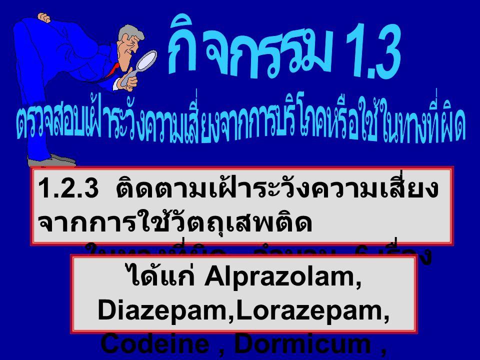 1.2.3 ติดตามเฝ้าระวังความเสี่ยง จากการใช้วัตถุเสพติด ในทางที่ผิด จำนวน 6 เรื่อง ได้แก่ Alprazolam, Diazepam,Lorazepam, Codeine, Dormicum, Ketamine