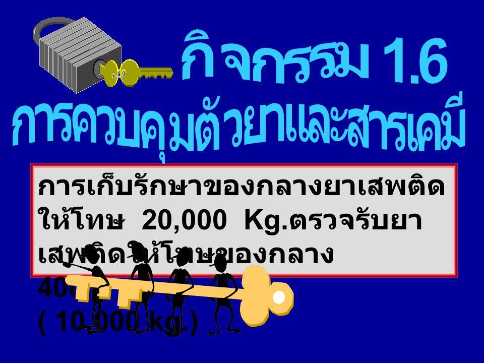การเก็บรักษาของกลางยาเสพติด ให้โทษ 20,000 Kg. ตรวจรับยา เสพติดให้โทษของกลาง 400 ราย ( 10,000 kg.)